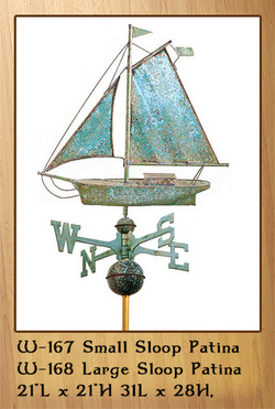 Small & Large Sloop Patina Weathervane