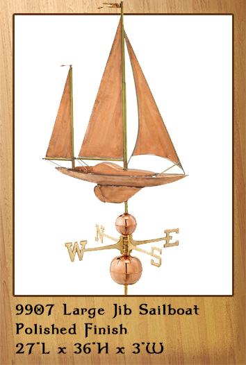 Large Jib Sailboat Weathervane