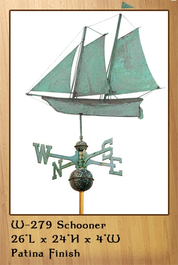 Schooner Patina Finish Weathervane